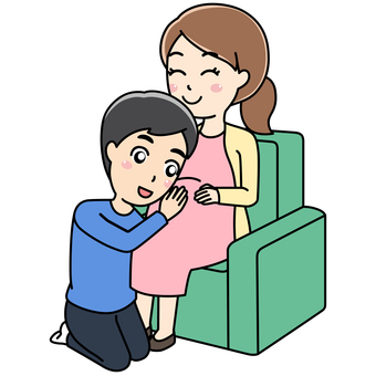 Pregnant woman and husband sitting on chair