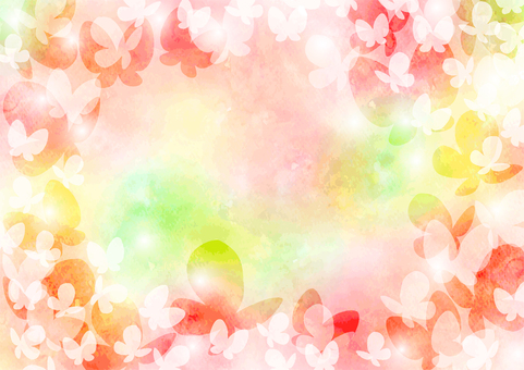 Watercolor spring spring butterfly background