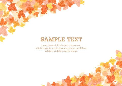 Seasonal material 063 autumn leaves watercolor frame