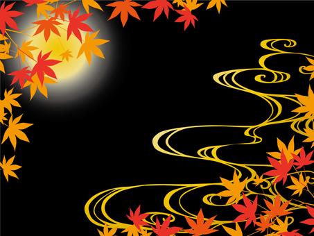Japanese autumn leaves frame black
