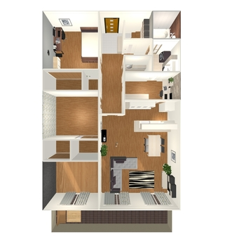 3LDK Floor Plan ⑤ (From the 3-D view directly above)