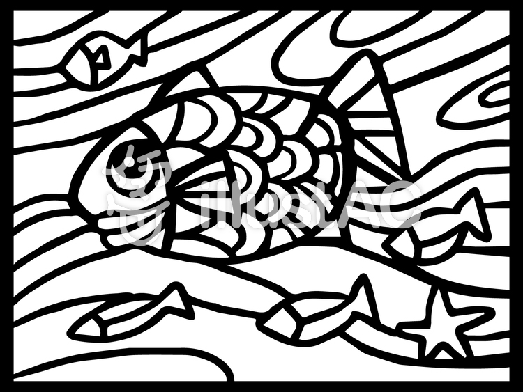 魚のステンドグラスぬり絵イラスト No 782736無料イラストなら