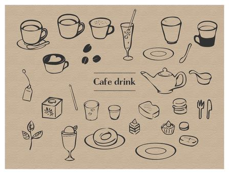 Hand drawn style drink & food set line black