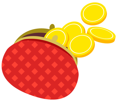 Purse and coin (red check