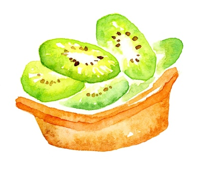 Fruit tart cake kiwi watercolor