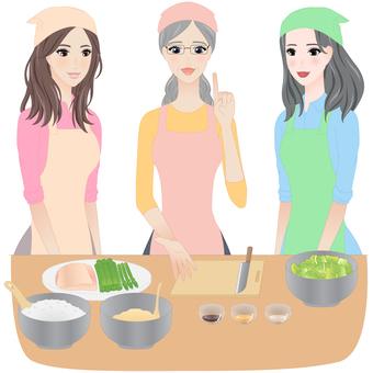 A woman attending a cooking class