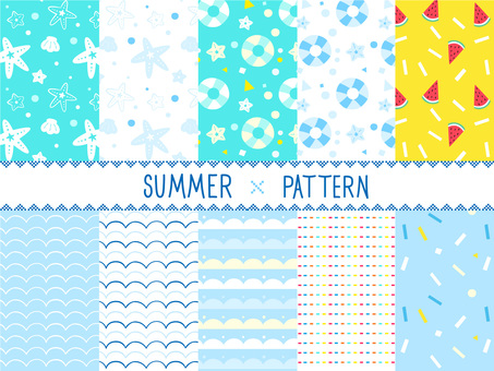 Summer atmosphere wallpaper swatch pattern set