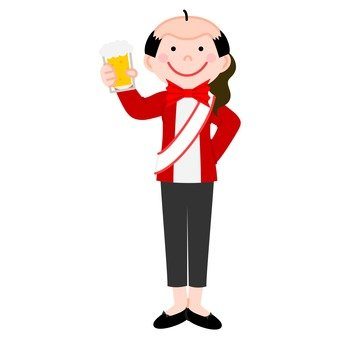 A woman taking a bald head and toast a toast