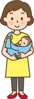 A mother holding a baby