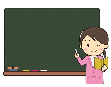 Blackboard with woman in suit