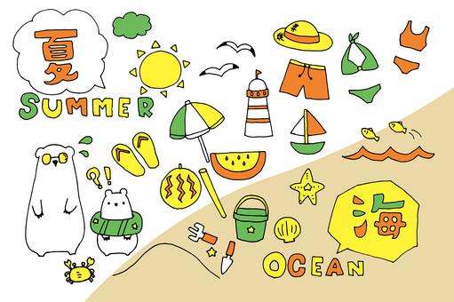Summer material _ sea (orange base)