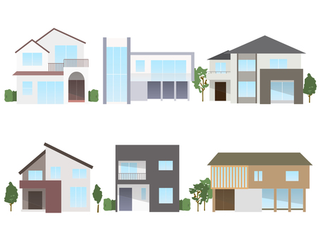 Modern house illustration set