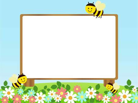 Signboard of Honey bee and flower stand