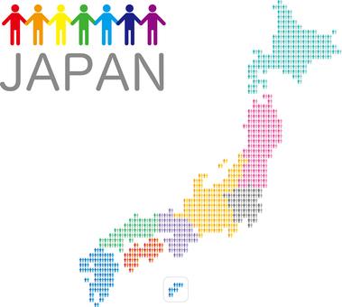 Japan map hand link 8 regional classification