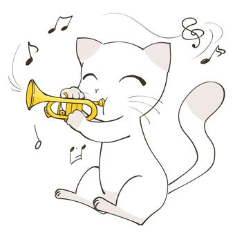 トランペットを吹く猫