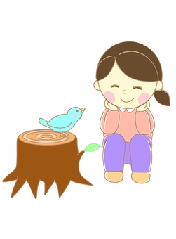 Girl and stump with line