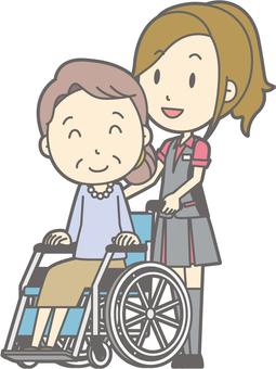 Pachi girls clerk - wheelchair push - whole body
