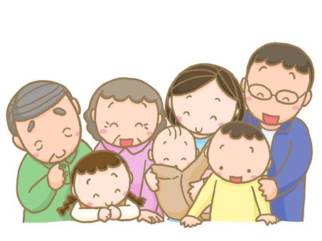 웃는 얼굴로 내려다 가족