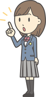 High school student blazer woman -220- whole body