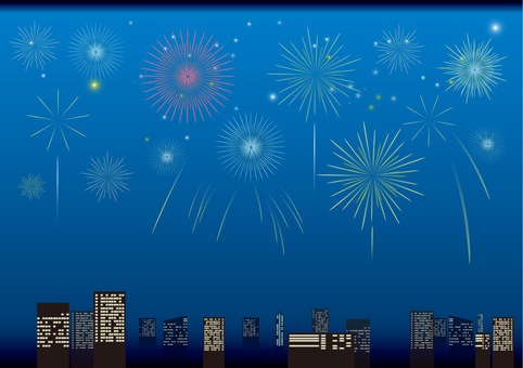 Skyscraper and fireworks 2