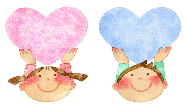 Children with hearts Pink and light blue
