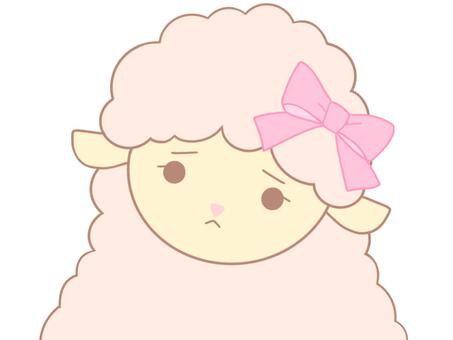 ピンクのひつじちゃん(不安)