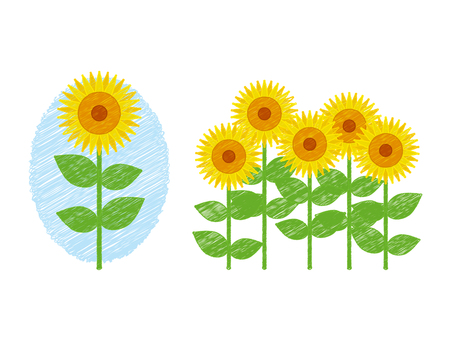Hand drawing wind_sunflower