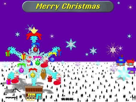 거대한 눈 내리는 마을의 크리스마스!
