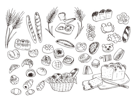 Food illustration line pixel material (bread)