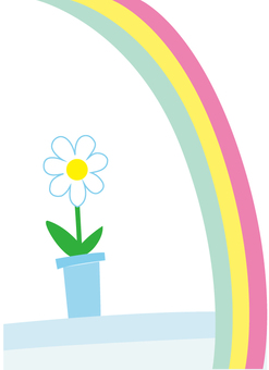 Flowers and rainbow