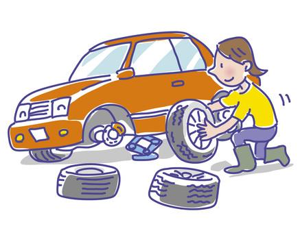 Women exchanging tires