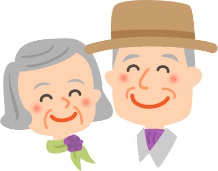 늙은 부부 미소