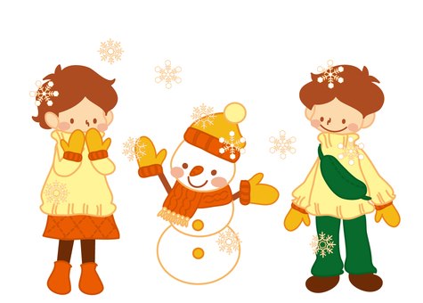 Snow falling day (snowman)