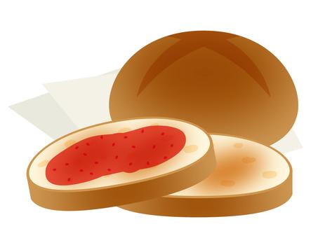 Bread round bread strawberry jam
