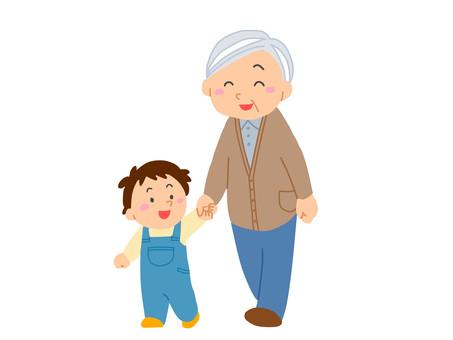為老人走路