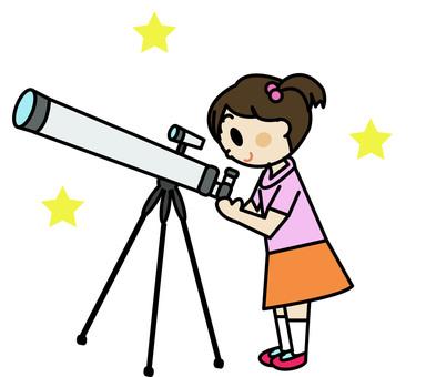 Astronomical observation girl