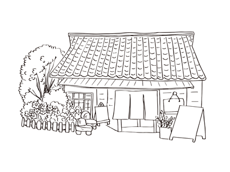 Old private house cafe (line drawing)
