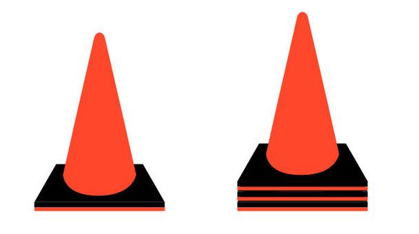 Color cone diagonally above