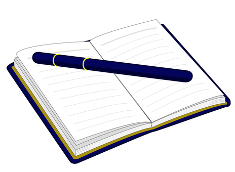 Schedule book with blue pen
