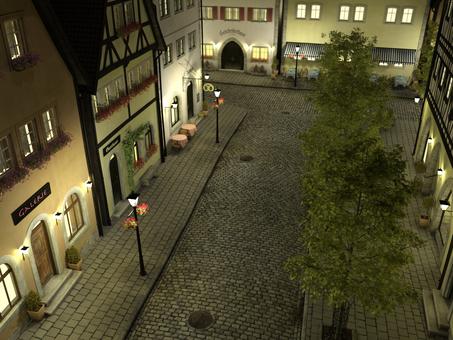 夜の街 : 中世建築風