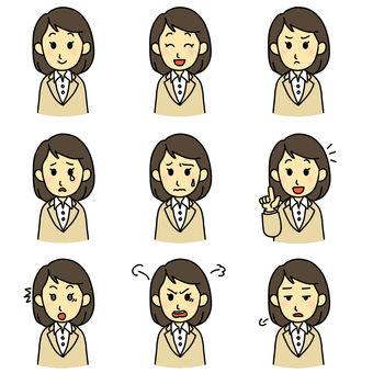 Facial expression assortment (female)