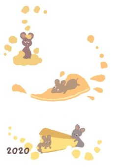 Mouse and cheese · 2020 New Year card