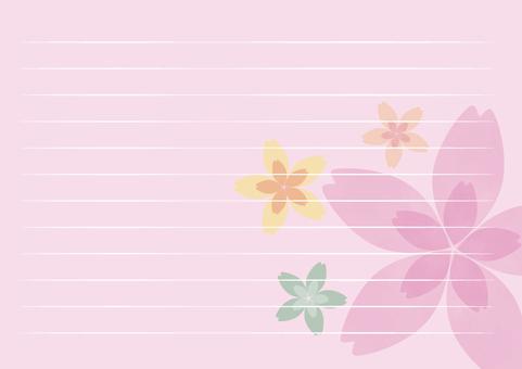 카드 - 레터 용지 가로 벚꽃