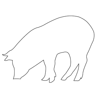 Pig silhouette (outline)