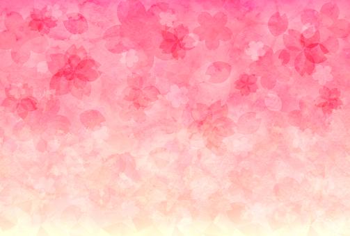 Watercolor cherry blossom gradient postcard / wallpaper