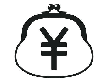 Sword purse black and white icon