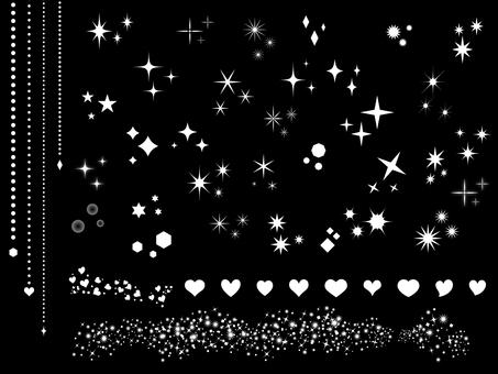 Variety of sparkling stars Heart