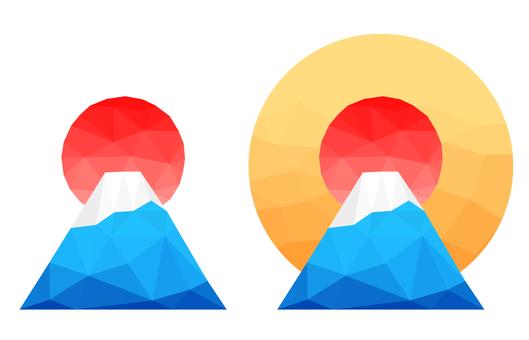 Polygon Mt. Fuji and the sunrise