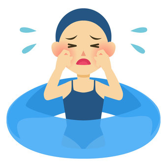 Crying girl in the pool