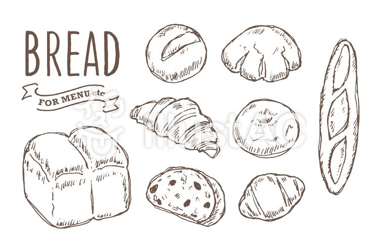 パン色々手書きのイラスト